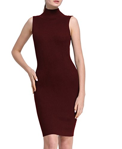 Firpearl Women's Mock Neck Ribbed Knit Sleeveless Tank Dress M Burgundy