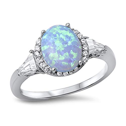 (CloseoutWarehouse Round Light Blue Simulated Opal Center Cubic Zirconia Ring Sterling Silver Size 7)