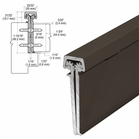 Dark Bronze Anodized 83'' Heavy-Duty Concealed Leaf Hinge with Lip for 1-3/4'' Entry Door