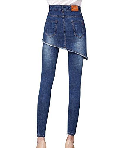 Mujer Denim Azul L Pantalones Elásticos Vaqueros para Vaqueros Straight Marino qCIRawrC