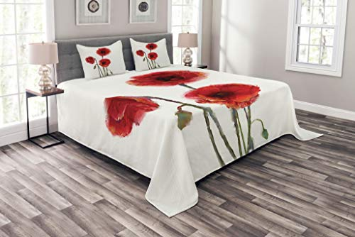 Lunarable Watercolor Flower Bedspread Set Queen Size, Poppy Flowers Spring Blossoms with Watercolor Painting Effect, Decorative Quilted 3 Piece Coverlet Set with 2 Pillow Shams, White Red Sage Green