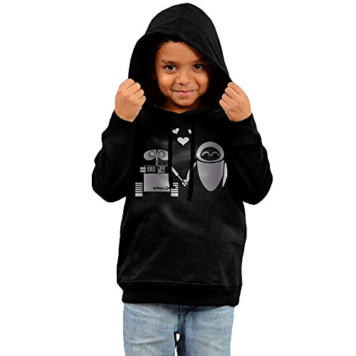 - Little Boys Girls Walle And Eve Hand In Hand Platinum Style Hoodie Black