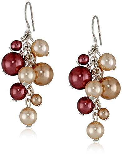 Pearl Rose Dusty (Dusty Rose, Peach and Mauve Simulated Pearl Cluster Drop Earrings)