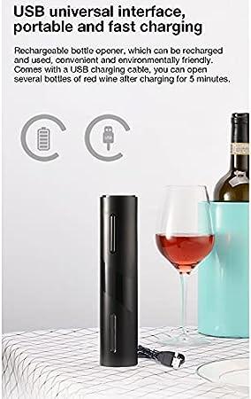 ONE-KJWH Sacacorchos electrónico 4 en 1, sacacorchos automático Recargable sacacorchos para Vino vertedor de Vino Filtro de película para Vino y Cable de Carga USB