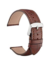 WOCCI 22mm Alligator Embossed Leather Watch Band,Replacement Strap for Men Women(Brown with Tone on Tone Seam)
