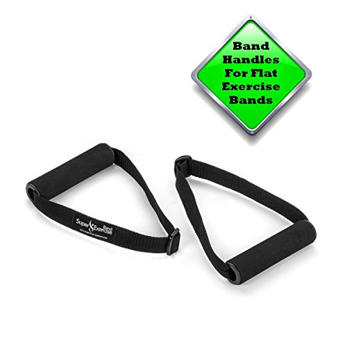Super Exercise Band USA Flat Resistance Band Handles For Comfortable Grip When Doing Strength Training, Physical Therapy, Pilates & Chair Workouts With Flat Resistance Bands. Plus Stretch Band - Therapy Flat Bands