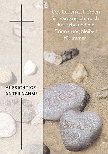 11,6 x 16,6 cm Trauerkarte Basic Classic Steine mit Textvorschlag
