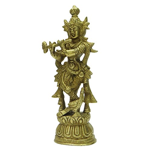 Lord Krishna Statue Indian Home Table D?cor Brass Metal Art Religious (Rustic Heart Table D Cor)