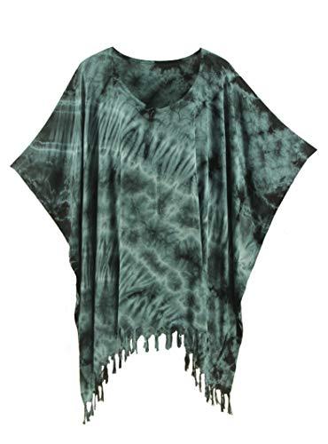 Tie Dye Batik - Beautybatik Grey Boho Hippie Batik Tie Dye Tunic Blouse Kaftan Top 4X