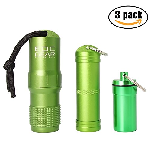 PPFISH Military Grade Air-tight EDC Accessory Case, Waterproof Pill Fob Capsule/match Case Battery Holder Case, Outdoor Survival Storage Container Dry Box (pack of 3) (Army green)