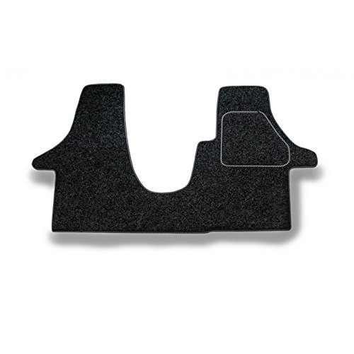Kiravans Cab mat Anthracite with silver & black trim Campervan Mats compatible with VW T5 / T6 (for 1+2 seats):