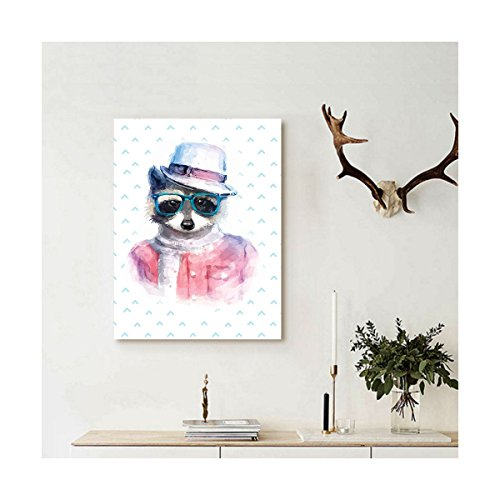 Liguo88 Custom canvas Funny Decor Wall Hanging Retro Hipster Funky Raccoon with Sunglasses Hat Pullover Portrait Animal Humor Theme Print Decor Pink - Hipster Sunglasses Tumblr