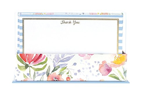 "Graphique Floral Stripes Flat Notes with Cursive ""Thank You"" Message, Stationery Set with Gold Foil, 50 Note Cards and Matching Envelopes, 5.625"" x 3.5"""