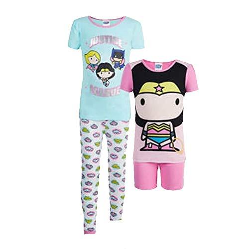 Komar Kids - Justice League Girls 4 Piece Pajama Sleepwear Set-Pink/Green 3T -