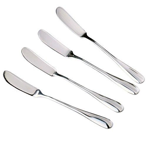 Handled Spreader Wood (Zelta Stainless Steel Spreaders Silver, Packs of 4)