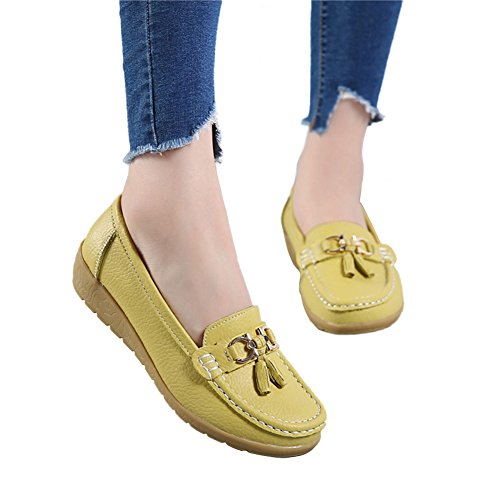 Blivener Womens Casual Platform Shoes Comfort Leather Walking Loafer Green lZXCYxD