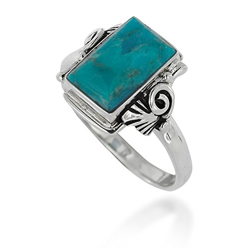 925 Oxidized Sterling Silver Blue Turquoise Gemstone Rectangle Swirl Ring, Size 7
