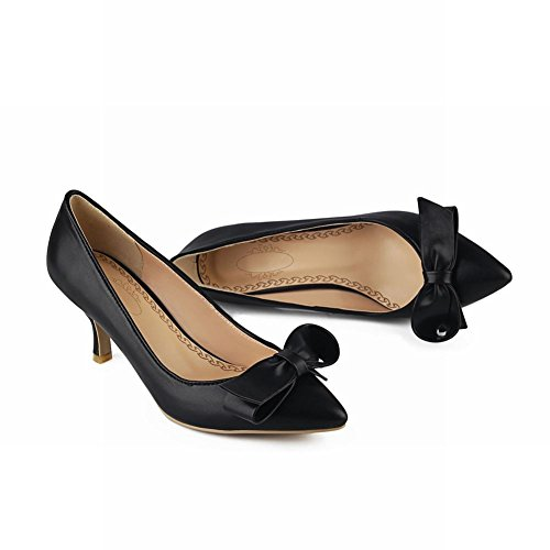 Carolbar Women's Elegant Lovely Bow Pointed Toe High Heel Court Shoes Black zFL1t