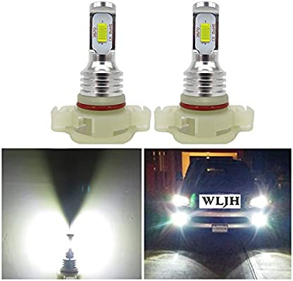 WLJH 2pcs bombillas de luz LED PSX24W 72W de alta potencia LED chipsets CSP extremadamente brillante 6500k blanco 2504 bombillas LED para luces de niebla ...