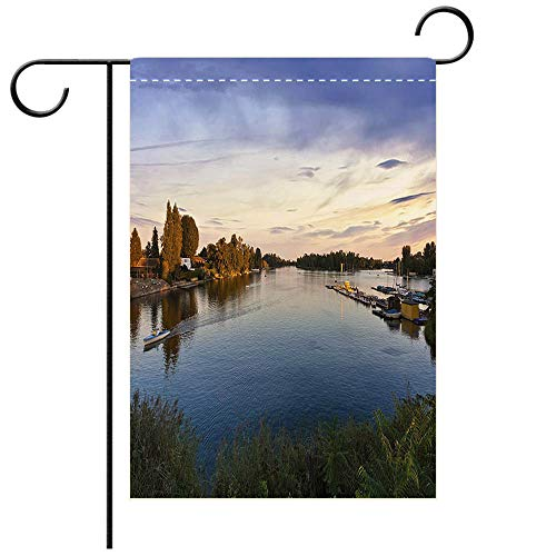 BEICICI Double Sided Premium Garden Flag Sunset at The Old Danube in Vienna Decorative Deck, Patio, Porch, Balcony Backyard, Garden or Lawn ()