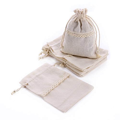 MYARO 10 pcs Drawstring Burlap Linen Bags Gift Bags Pouch for Party (Lace Sachet)
