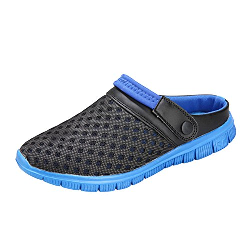 Hzjundasi Unisex Men Women Breathable Mesh Net Slippers,Summer Sandals Slip ONS Flats Non-Slip Shoes Outdoor Sports Casual Deep Blue