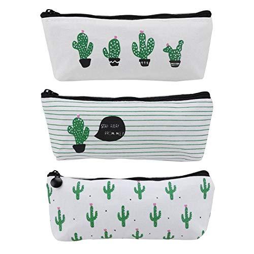 HOUSWOUKER Set of 4 Cactus Canvas Pen Pencil Case, Premium Zipper Coin Purse Pouch Makeup Bag