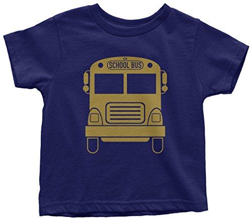 (Threadrock Kids Gold School Bus Toddler T-Shirt 3T Navy )