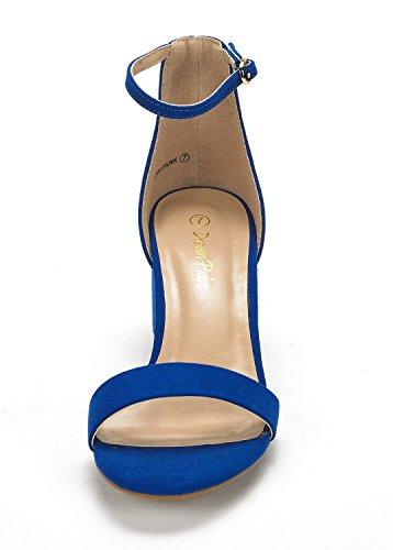 Droompaar Dames Lage Hak Pumps Pump Sandalen Royal Blue