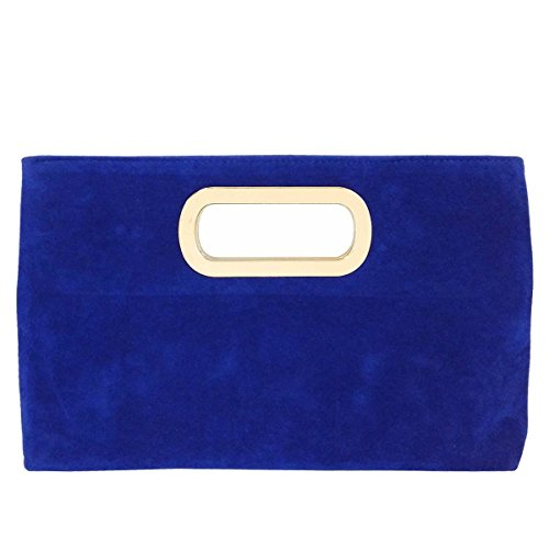 Top Handle Faux Suede Clutch