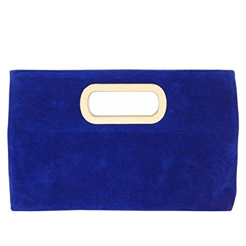 Top Handle Faux Suede Clutch, Royal Blue