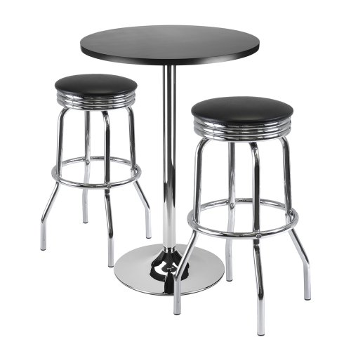 Winsome Summit 3-Piece Bar Table Set with 24-Inch Table and 2 Stools
