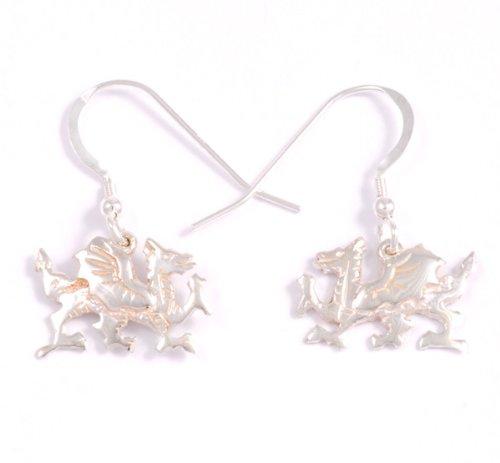 Celtic Earrings Dragon - St Justin, Silver Welsh Dragon Drop Earrings