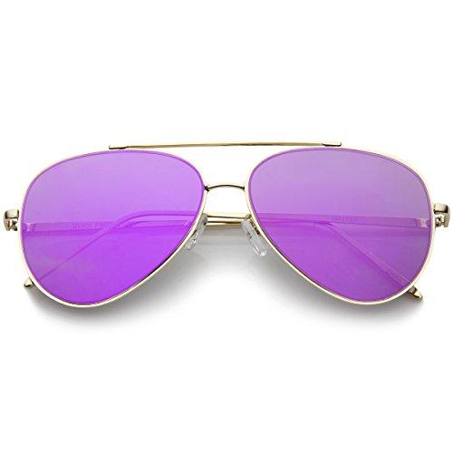 Vintage Retro Aviator Mirror Lens Sunglasses Purple - 6