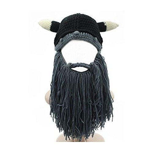 Epic Easy Halloween Costumes (Jenny Shop Men's Funny Bull Cow Horn Cosplay Head Beanie Knit Viking Original Foldaway Beard/Mustache Hats Halloween Caps, Grey)
