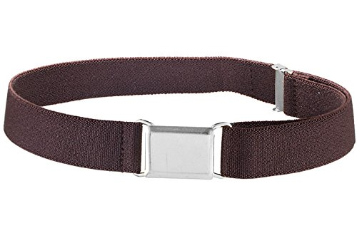 Kids Elastic Adjustable Strech Belt With Square Silver Metal Buckle - Brown -