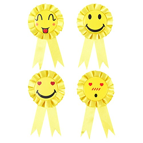 Juvale Set of 4 Smiley Rosette Ribbons - Participation Ribbons, Award Party Supplies for Children's Events, Achievement Ribbons, Yellow - 3.6 x 6.7 Inches -