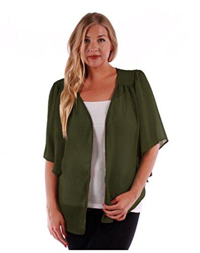 Women's Plus Size Cascading Chiffon Bolero Cardigan Shrug Top (1X, Olive) ()