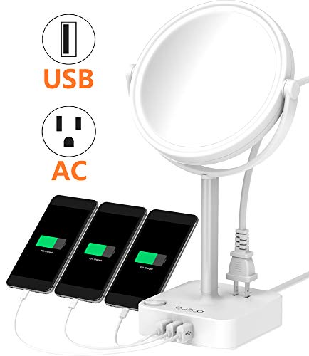 COZOO Lighted Makeup Mirror with LED Light and 3 Ports USB Charger / 2 Outlet Power Strip,5 Inch Round Diameter Daylight Natural White Light Mirror,AC Power (Mirror with USB and Outlets)