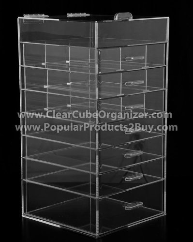 Acrylic Cube Makeup Organizer (7 drawers plus one w/lid) by Acrylic Organizer Display