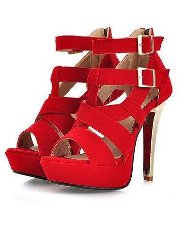 Dress Peep Platform Gladiator Red ShangYi Women's Black Toe Office Shoes Heel Black Sandals Heels Stiletto amp; Career xAqCO