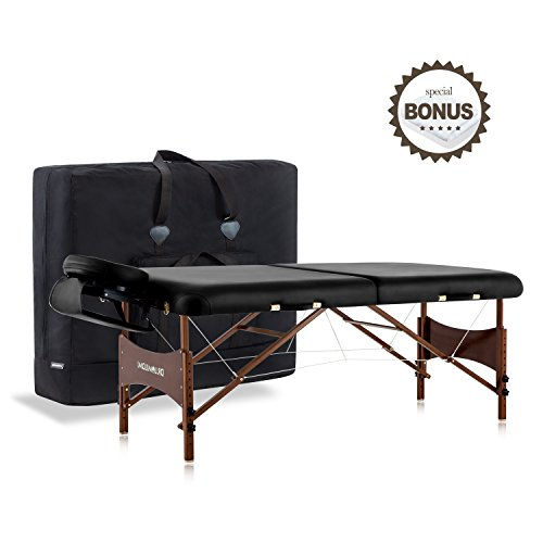 """DR.LOMILOMI 30"""" Walnut Finish Portable Massage Table W301 Spa Bed with Carry Case and Cover Sheet Set (Black)"""