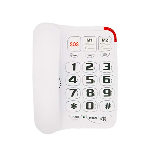Big Button Corded Phone with 3 One-Touch Speed Dial, HePesTer HP-45 Picture Care Phone for Seniors with Memory Protection/Wall Mountable/SOS Emergency (Picture Dial Phone)