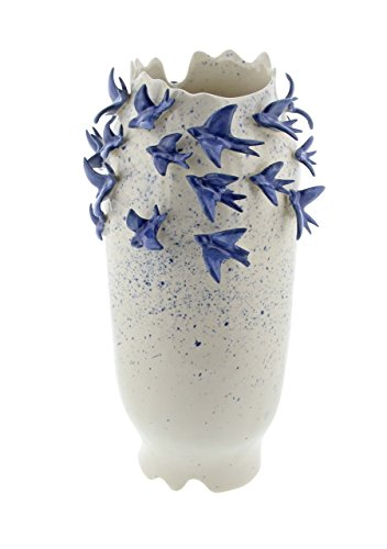 - Deco 79 62181 Ceramic Vase with Flying Birds Detail, 18