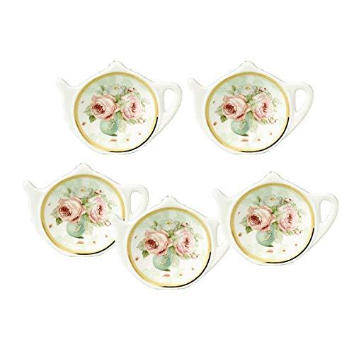 (RockTrend Vintage Rose White Porcelain Ceramic Teapot-Shaped Tea Bag Holder Tea Bag Coasters, Spoon Rests; Classic Tea Saucer Seasoning Dish with Flower Trim Gold Rim (Flower A, 5 PCS))