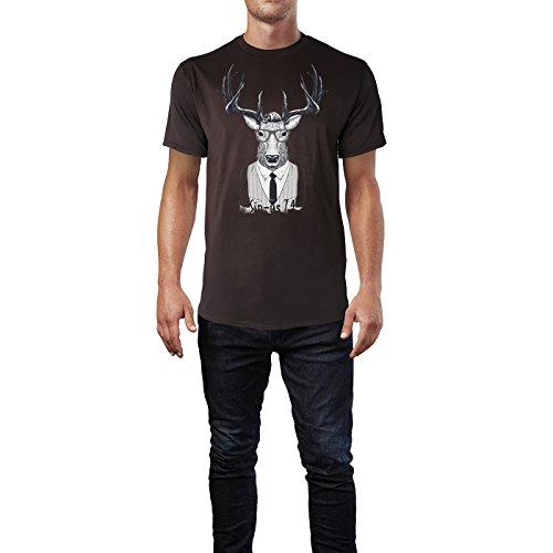 SINUS ART ® Schickes Hipster Rentier mit Brille Herren T-Shirts in Schokolade braun Fun Shirt mit tollen Aufdruck