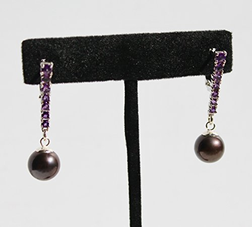 Deep purple natural amethysts set in 14K white gold with 11mm black Tahitian round pearls earrings