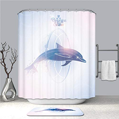 BEICICI Shower Curtain and Bath mat Rug Graphic Dolphin Jumping Through a Hoop Custom Stylish,Waterproof,Bathroom Set