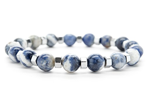 Wrist Beads Semiprecious Stone Bracelet - Real Blue and White Agate Gemstones - for Chakra Healing and Balancing, fits Men and Women 7 inch - Adds Boho Charm to Any Outfit, by Orti Jewelry