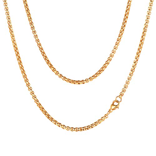 (FaithHeart 3 MM Flat Box Chain Necklace, 18 Inches 18K Gold Plated Pearl Chains for Men/Women (with Gift Box))